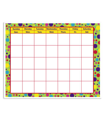 Busy Kids Learning Large Classroom Chart-Calendar Polka Dots Brite