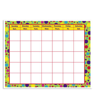 Busy Kids Learning Large Classroom Chart Calendar Polka Dots Brite
