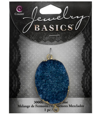 Cousin® Jewelry Basics Gold Trimmed Druzy Connector-Blue