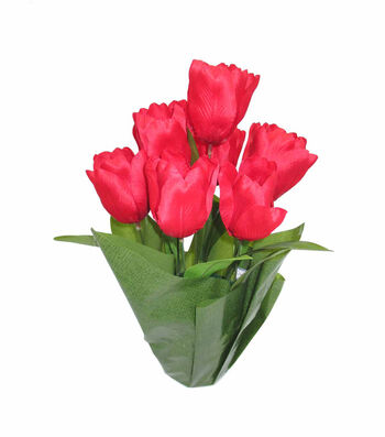 Blooming Spring 16'' Potted Tulip-Red