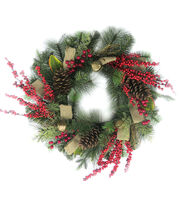 Blooming Holiday Christmas Burlap, Berry, Pinecone & Bell Wreath-Green, , hi-res