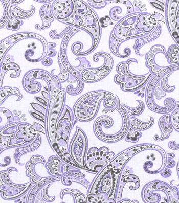 """Nursery Cotton Fabric 43""""-Lilac Paisley"""