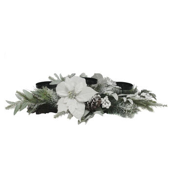 Blooming Holiday 30'' Poinsettia Pinecone Candle Holder For 3 Candles