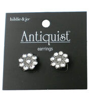 hildie & jo™ Antiquist Circle Silver Earrings-Clear Crystals, , hi-res
