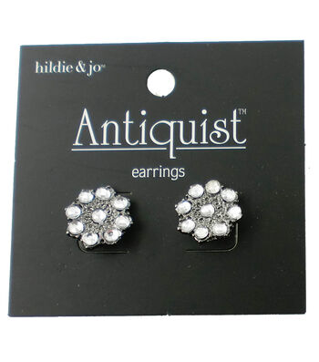hildie & jo™ Antiquist Circle Silver Earrings-Clear Crystals