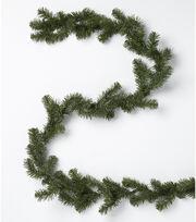 Blooming Holiday Christmas 9' PVC Canadian Pine Garland-Green, , hi-res