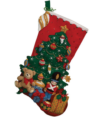 "Under The Tree Stocking Felt Applique Kit-18"" Long"