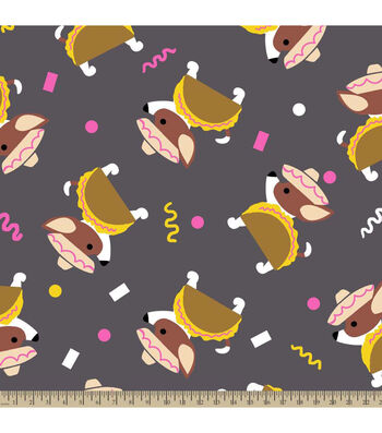 "Anti-Pill Fleece Fabric 59""-Taco Dog"