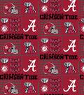 University of Alabama Crimson Tide Cotton Fabric 44\u0022-Logo Allover