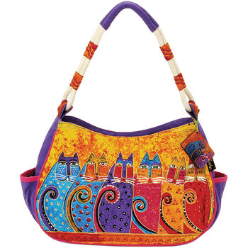 "Laurel Burch Medium Hobo Zipper Top 11.5""x4""x9""-Feline Tribe"