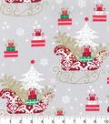 Keepsake Calico Christmas Cotton Fabric-Santa Sleighs