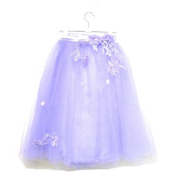 Maker's Halloween Child Long Lace Trim Tutu-Lavender