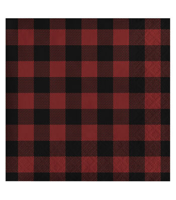 Maker's Holiday Christmas 20 pk Beverage Napkins-Black & Red Plaids