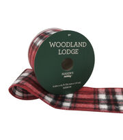 Maker's Holiday Woodland Lodge Ribbon 2.5''x25'-Red, Black & White Check, , hi-res