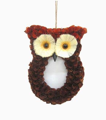 Blooming Autumn Wood Flower Sisal Owl Wreath