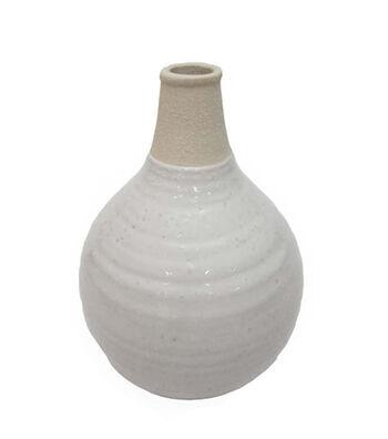 Fresh Picked Spring Round Stoneware Vase-Ivory & Natural