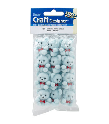12pk Mini Teddy Bear Favors-Blue