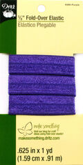 Dritz 5/8\u0022  Fold Over Elastic Purple 1Yd
