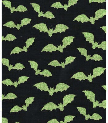 "Halloween Cotton Fabric 43""-Green Bats"