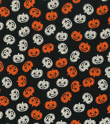 "Halloween Cotton Fabric 43""-Pumpkins Glow"