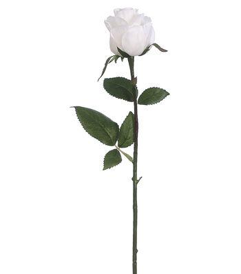 """Bloom Room Pack of 12 17.5"""" Rose Bud Stems-White"""