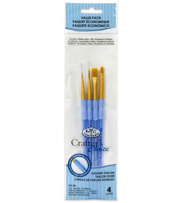 Royal & Langnickel® Variety Brush Set 4pk-Golden Taklon
