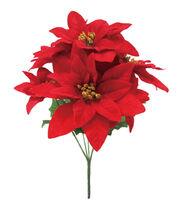 Blooming Holiday Christmas 13'' Poinsettia Spray-Red, , hi-res