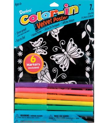 Darice Color-In Velvet Poster Butterfly Daisy