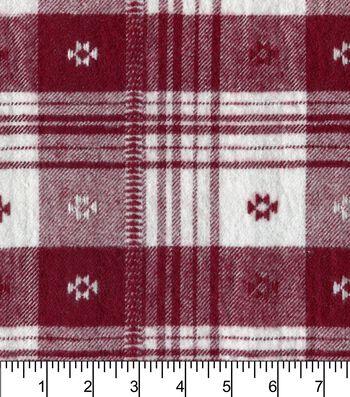 "Plaiditudes Brushed Cotton Fabric 44""-Southwest Red White"