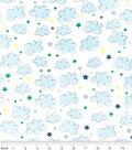 Nursery Flannel Fabric 42\u0022-Airplane Clouds Stars White
