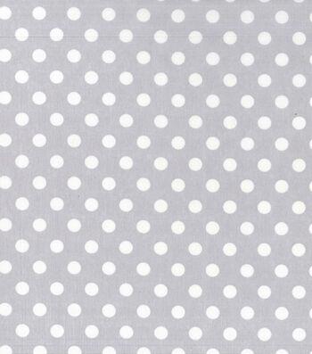 "Nursery Cotton Fabric 43""-White Dot On Grey"