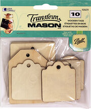 Wood Tags Rectangles 10 Ct, , hi-res