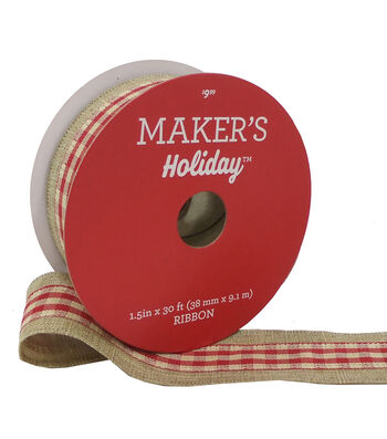 Maker's Holiday Ribbon 1.5''x30'-Red & Beige Gingham on Natural