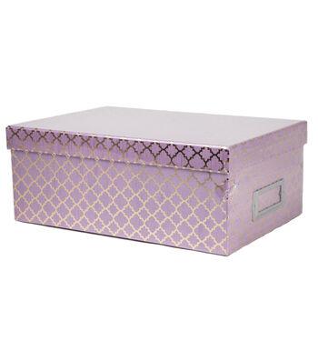 DCWV Lavender Quatrefoil Storage Box