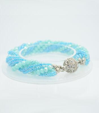 Crystal Multi Strand Bracelet-Deep Aqua