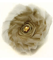 Laliberi™ Round Burlap Flower with Pearls and Stone, , hi-res