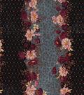 Vintage Cotton Fabric 43\u0027\u0027-Floral Stripe on Black & Blue