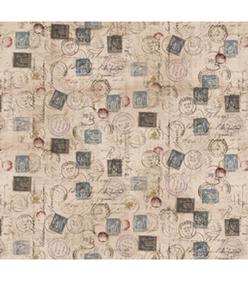 Tim Holtz Cotton Fabric-Correspondence Taupe