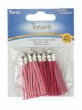 Fuchsia and Pink Suede Tassel Pendants, 4pc/pkg