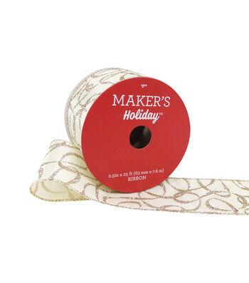 Maker's Holiday Christmas Ribbon 2.5''x25'-Gold Glitter Ribbon Print