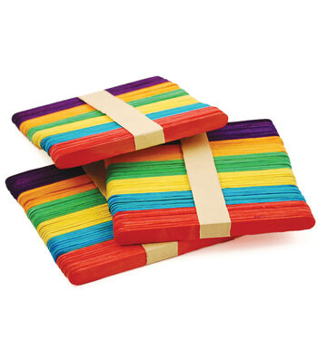 "Craft Popsicle Sticks Assorted Colors-4.5"" 150/pkg"