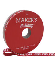 Maker's Holiday Christmas Grosgrain Ribbon 3/8''x9'-Ho Ho Ho on Red, , hi-res
