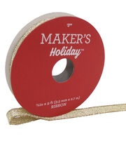 Maker's Holiday Christmas Lame Ribbon 3/8''x9'-Gold, , hi-res