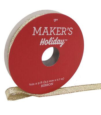 Maker's Holiday Christmas Lame Ribbon 3/8''x9'-Gold