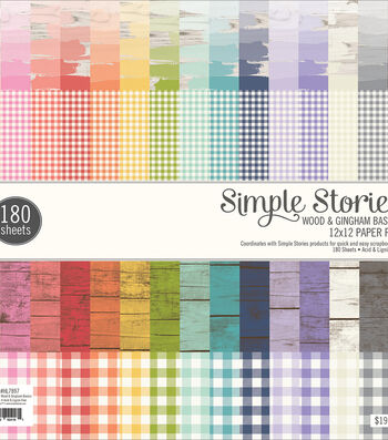 "Simple Stories Single-Sided Paper Pad 12""X12"" 180/Pkg-Wood & Gingham"