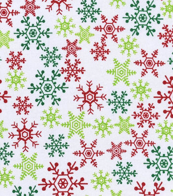 "Snuggle Flannel Fabric 42""-Red & Green Snowflakes"