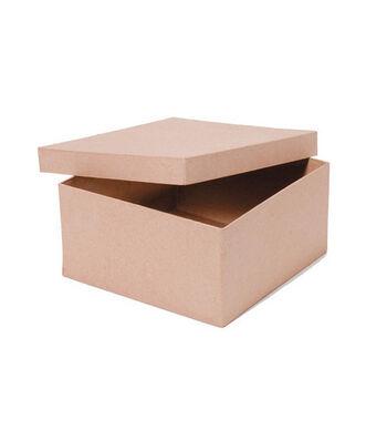 """Darice 8""""x8""""x4"""" Square Paper Mache Box"""