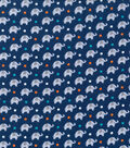 Nursery Flannel Fabric 42\u0022-Navy Dream Big Elephant