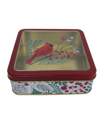 Maker's Holiday Christmas Small Square Clear Top Cookie Tin-Cardinal