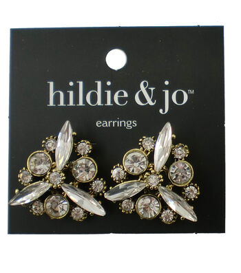 hildie & jo™ Antique Gold Earrings-Crystals